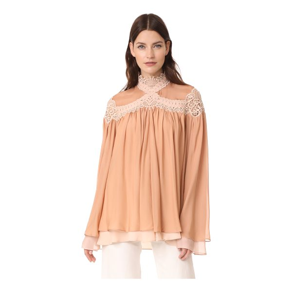 JONATHAN SIMKHAI babydoll blouse - Sheer lace trim lends bohemian style to this pleated,...
