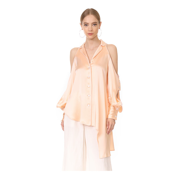 JONATHAN SIMKHAI cold shoulder blouse - A Jonathan Simkhai blouse with lustrous sheen. Piping trims...