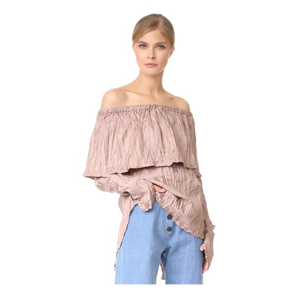 JUAN CARLOS OBANDO pleated peasant blouse - Crinkled texture adds a unique look to this shoulder-baring...