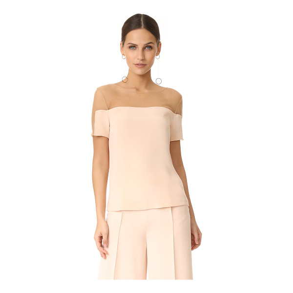 JULIANNA BASS jasmine silk top - Sheer tan mesh lends a barely-there element to this soft,...
