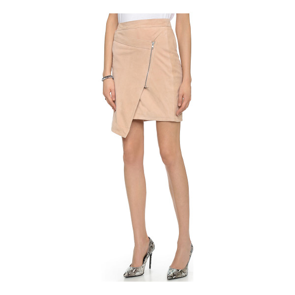 JUST FEMALE Came leather skirt - Smooth leather brings downtown edge to this asymmetrical...