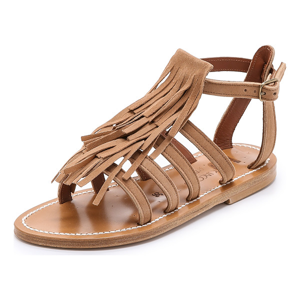 K. JACQUES Fregate fringe suede sandals - A fringed panel brings soft texture to strappy, brushed...