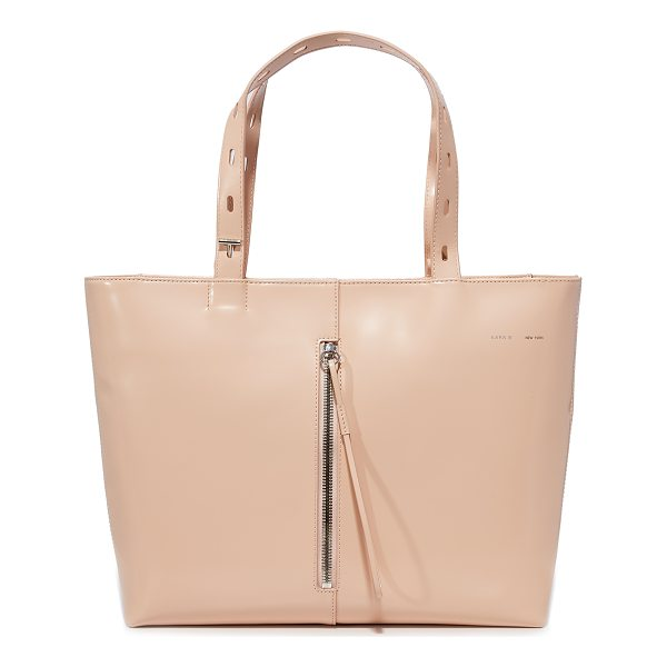 KARA polished panel small zip top tote - This polished KARA tote is crafted from glossy patent...