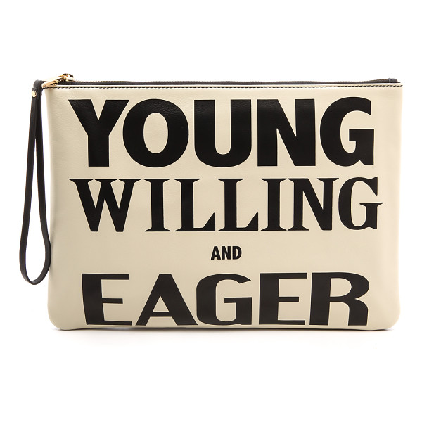KAREN WALKER Young willing & eager clutch - A zippered Karen Walker pouch features 'Young Willing And