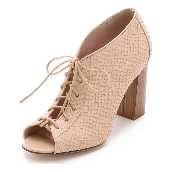 KATE SPADE NEW YORK Inella lace up booties - A snake embossed upper and chunky wooden heel bring unique
