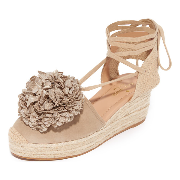 KATE SPADE NEW YORK lafayette espadrille sandals - A floral pom-pom accents the vamp on these suede and canvas...