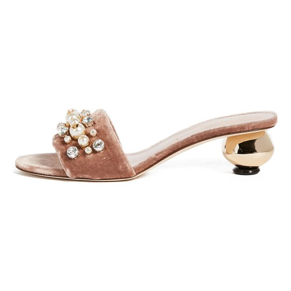 KATE SPADE NEW YORK penrose gold ball heel city sandals - A round, mirrored heel lends a glamorous touch to these...