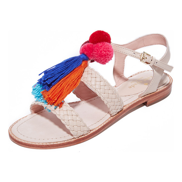 KATE SPADE NEW YORK sunset woven sandals - Soft, colorful pom-poms and tassels add summery style to...