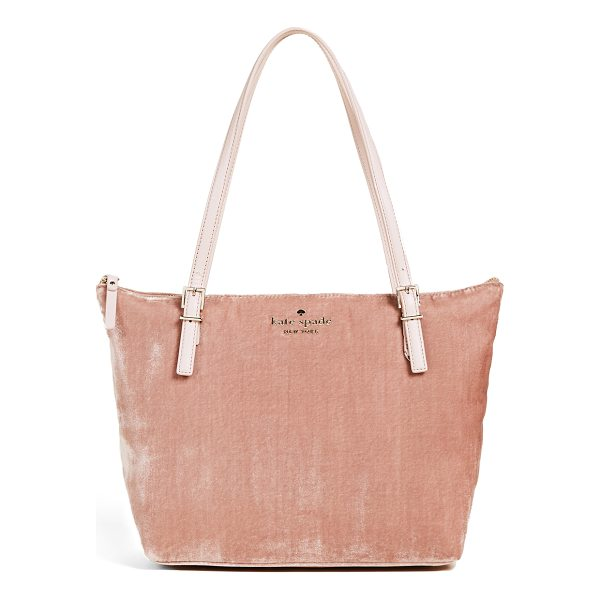KATE SPADE NEW YORK watson lane small maya tote - A plush velvet Kate Spade New York tote with studded logo...
