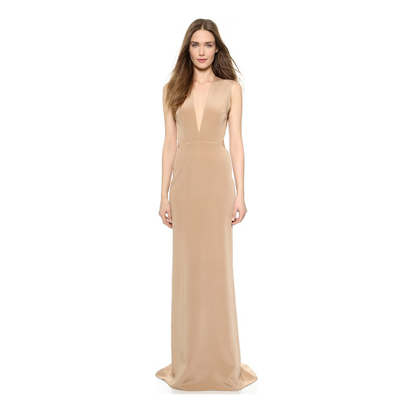 KAUFMAN FRANCO Backless deep v gown - Rich silk composes this elegant, floor length Kaufman...