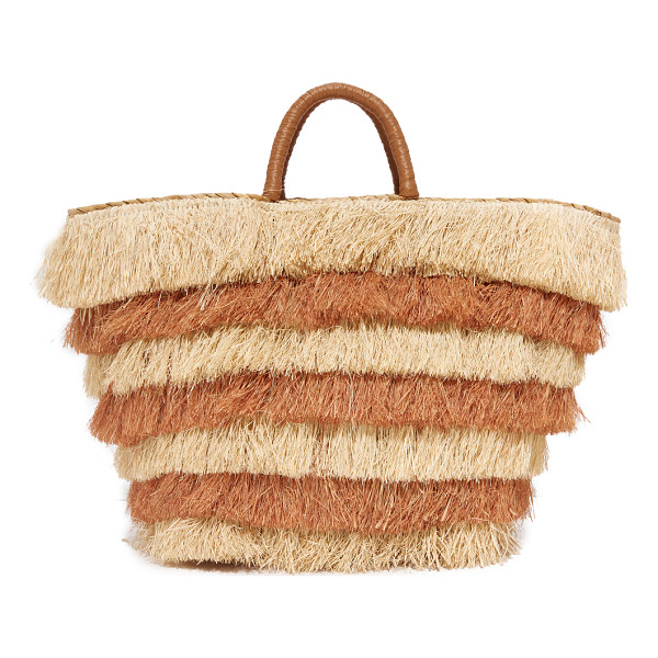 KAYU pinata tote - Tiered, multicolor fringe covers this straw Kayu tote....