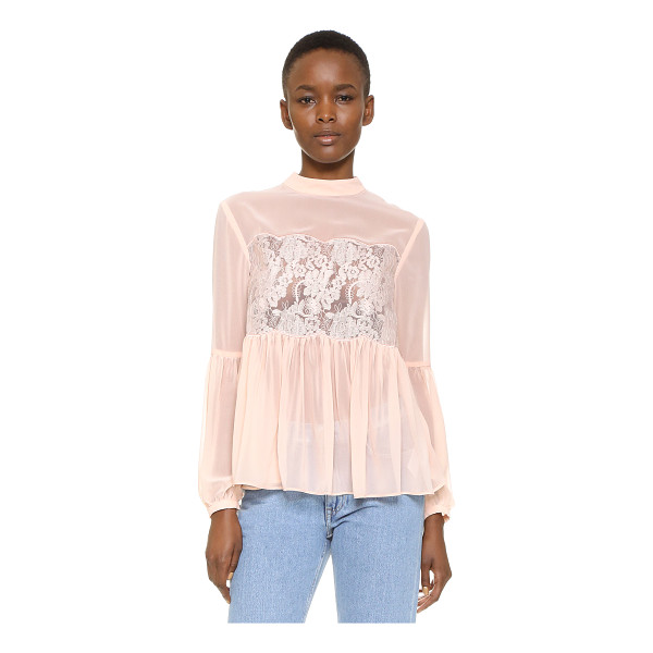 KEEPSAKE sundream lace top - A scalloped organza panel with delicate embroidery lends a...
