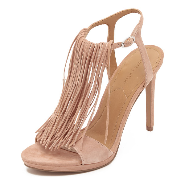 KENDALL + KYLIE Aries fringe sandals - Long, tonal fringe accents the T strap on these smooth...