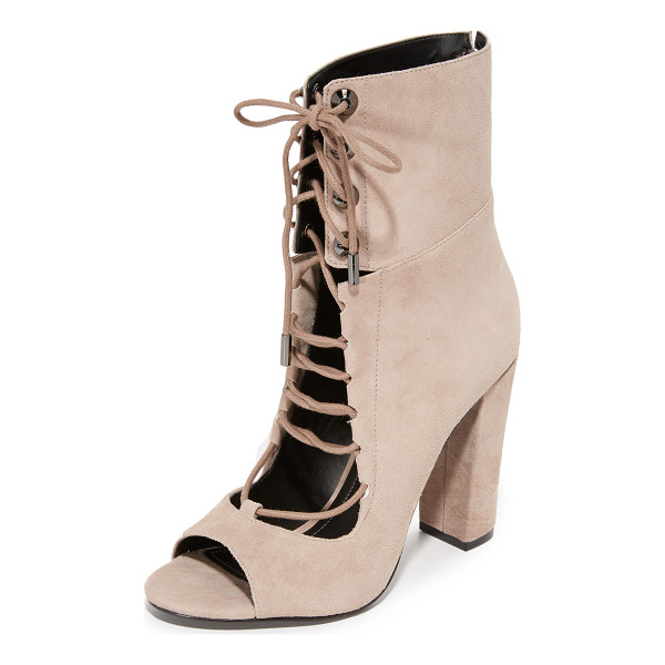 KENDALL + KYLIE ella open toe booties - Conical grommets accent the notched ankle cuff on these...