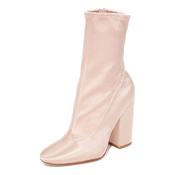 KENDALL + KYLIE hailey satin booties - A stretch shaft adds formfitting style to these elegant...