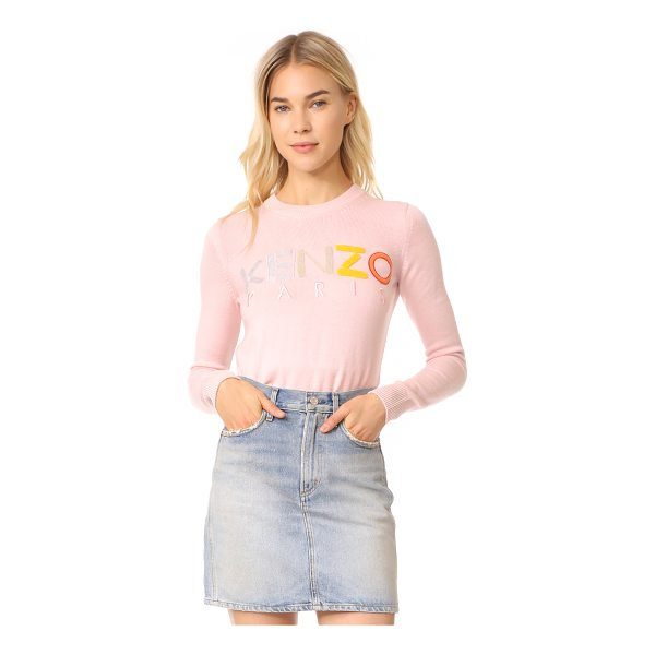 KENZO crew neck classic sweater - A mix of terry and felt patches form a logo motif on this...