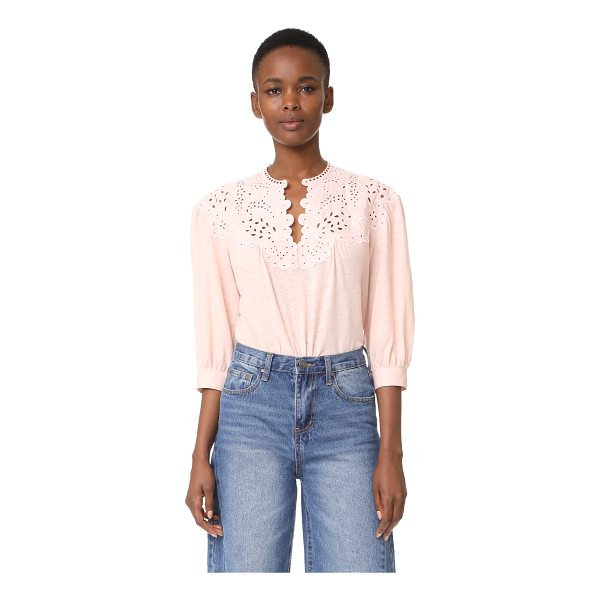 LA VIE BY REBECCA TAYLOR long sleeve textured eyelet blouse - This burnout jersey La Vie Rebecca Taylor is designed with...