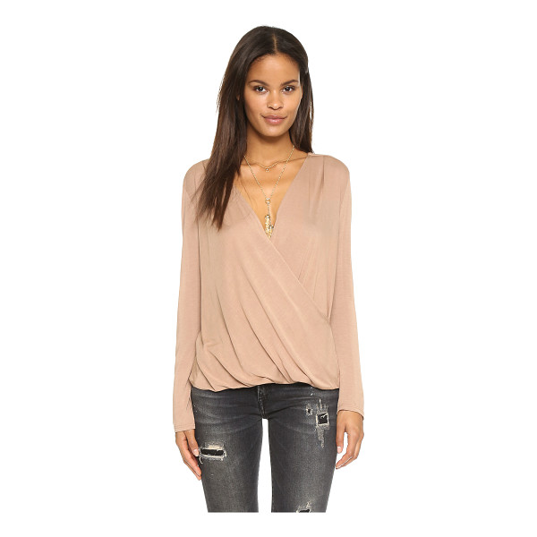 LANSTON Surplice long sleeve top - An easy, draped surplice top by Lanston. Gathered elastic...