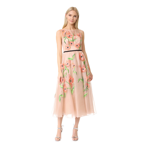 LELA ROSE floral embroidered dress - Layered embroidery and appliqués lend dimension to this...