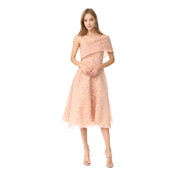 LELA ROSE one shoulder dress - Allover puckers and embroidered striations accent this airy...