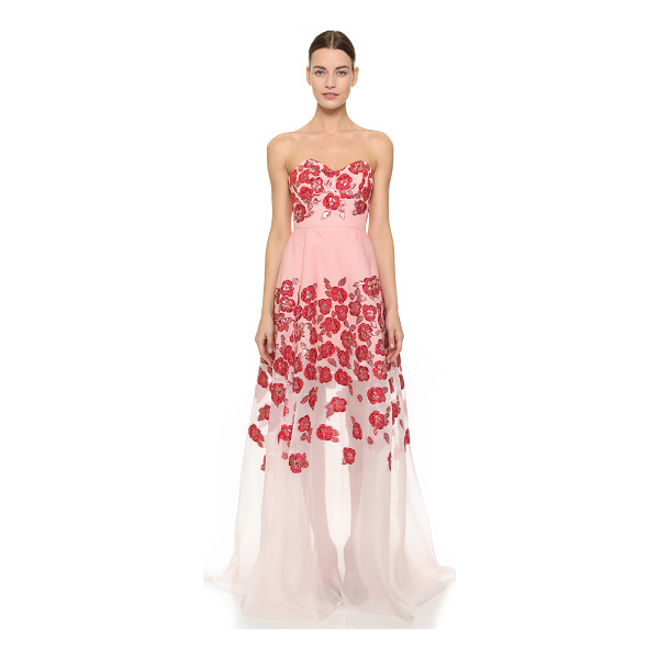 LELA ROSE Strapless gown - Shimmering floral detailing lends a romantic element to...