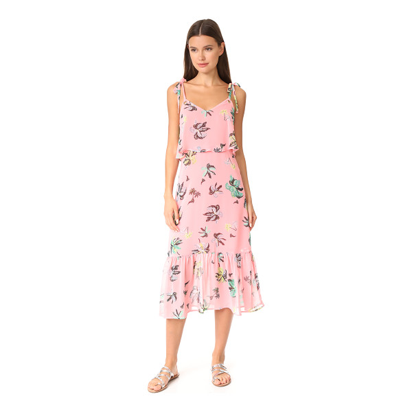 LINE & DOT riza ruffle midi dress - A palm tree print and an airy overlay at the bodice bring a...