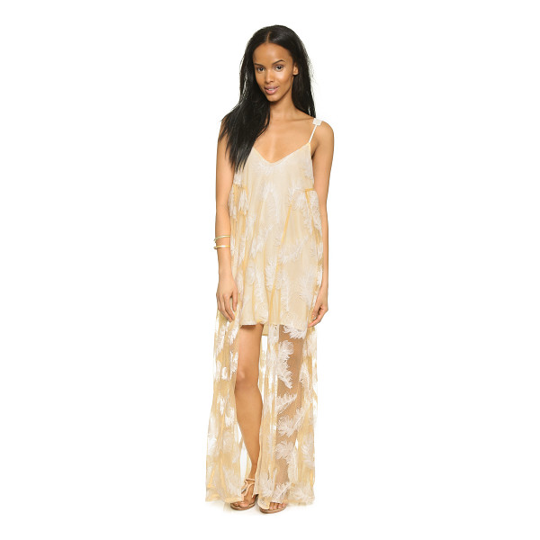 LINE & DOT Soft feather maxi dress - Contrast embroidery creates an elegant feather pattern on...