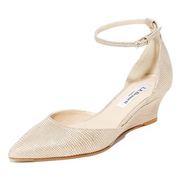 L.K. BENNETT alex metallic wedges - Metallic, lizard-embossed leather adds sophistication to