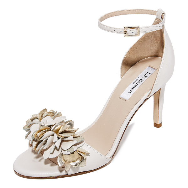 L.K. BENNETT claudie sandals - Metallic flower appliqués cover the vamp on these elegant