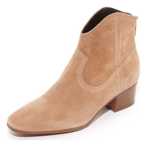 L.K. BENNETT dylan booties - Topstitching accents the suede panels on these...