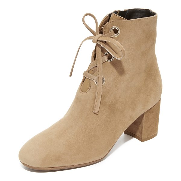 L.K. BENNETT mollie booties - Polished grommets trim the scalloped front on these suede...