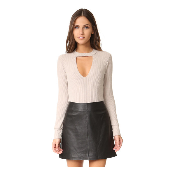LNA bardot long sleeve sweater - A V-shaped cutout accents the front of this soft,...