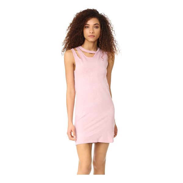 LNA double tank dress - Slashes at the neckline lend a time-worn effect to this...