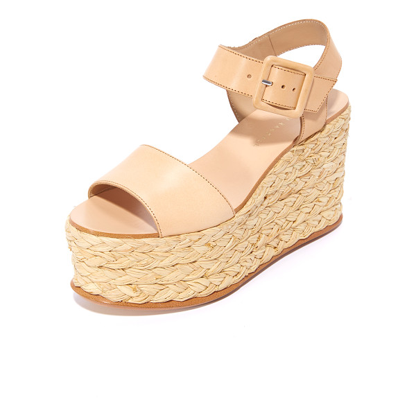 LOEFFLER RANDALL alessa flatform sandals - Braided raffia covers the inset platform on these smooth