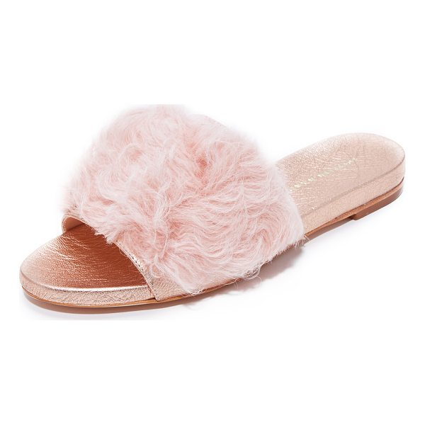 LOEFFLER RANDALL domino shearling slides - Soft shearling and metallic leather add a bold update to...