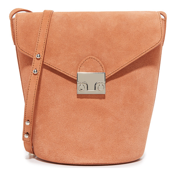LOEFFLER RANDALL Flap bucket bag - A structured Loeffler Randall bucket bag in soft suede. A