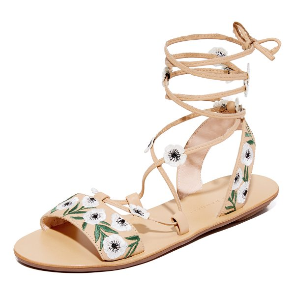 LOEFFLER RANDALL fluera wrap sandals - Floral embroidery adds cheery style to these leather...