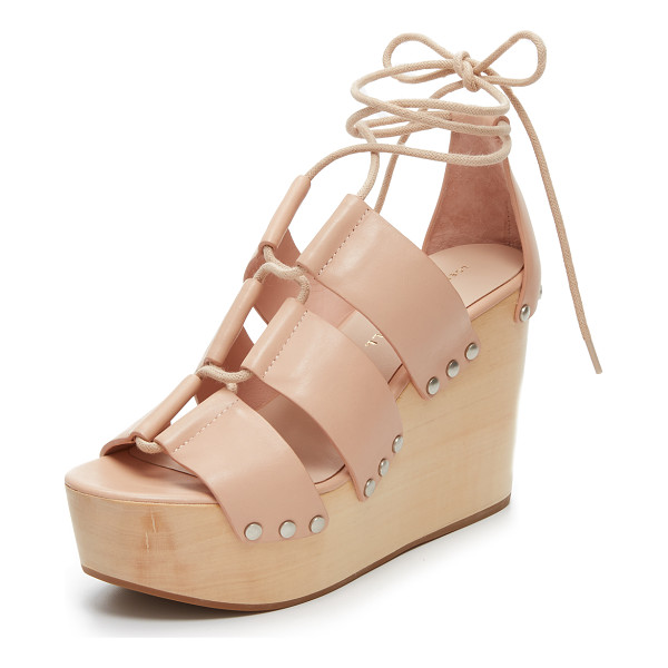 LOEFFLER RANDALL Ines clog wedges - A smooth wooden base brings retro flair to these leather...
