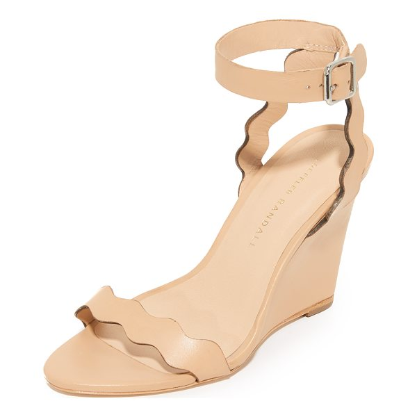 LOEFFLER RANDALL piper wedge sandals - Scalloped straps lend a feminine touch to these smooth...