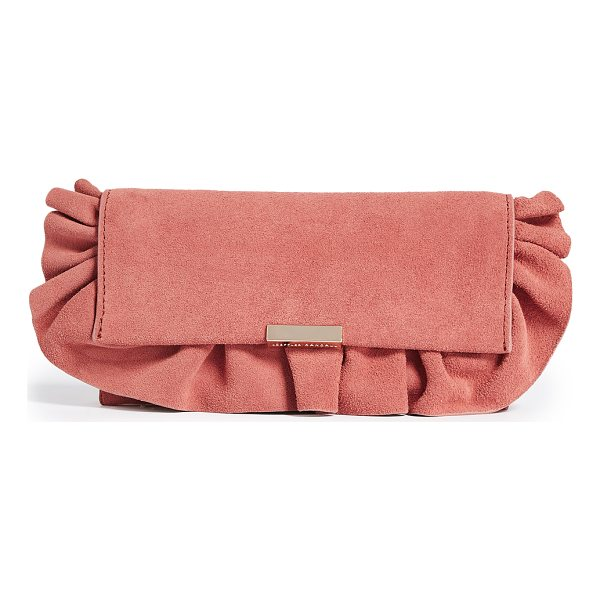 LOEFFLER RANDALL ruffled tab clutch - A suede Loeffler Randall clutch finished with a pretty,...