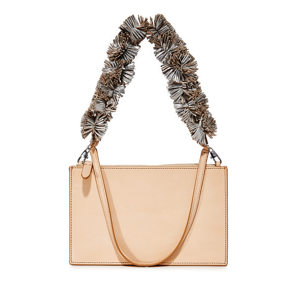 LOEFFLER RANDALL zip pouch - A strand of metallic-leather pom-poms adds eye-catching