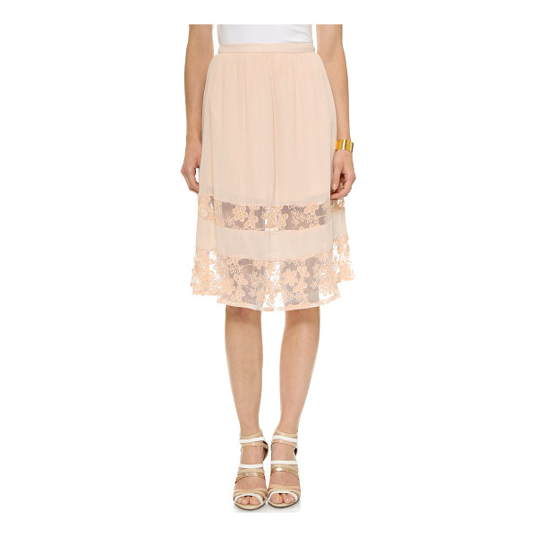LOVE SADIE Lace skirt - Sheer lace insets show peeks of skin on this crinkled Love...