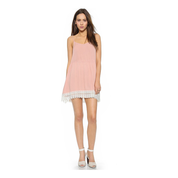 LOVE SADIE Lace sun dress - Crinkled gauze brings a breezy feel to this shoulder baring...