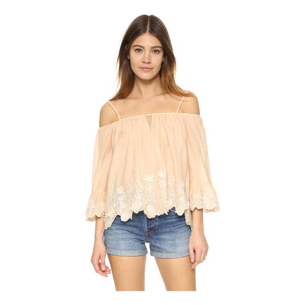 LOVE SAM Camille top - Floral embroidery trims the scalloped hem of this shoulder...