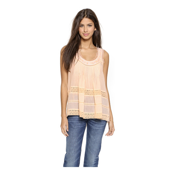 LOVE SAM Grace blouse with lace insert - Pintucks, beads, and eyelet embroidery add feminine charm...