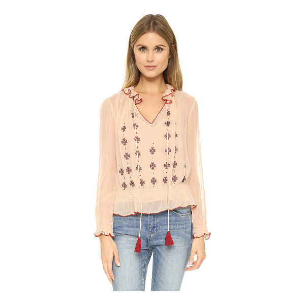 LOVE SAM Lena crinkle blouse - A bohemian Love Sam blouse, detailed with embroidery and...