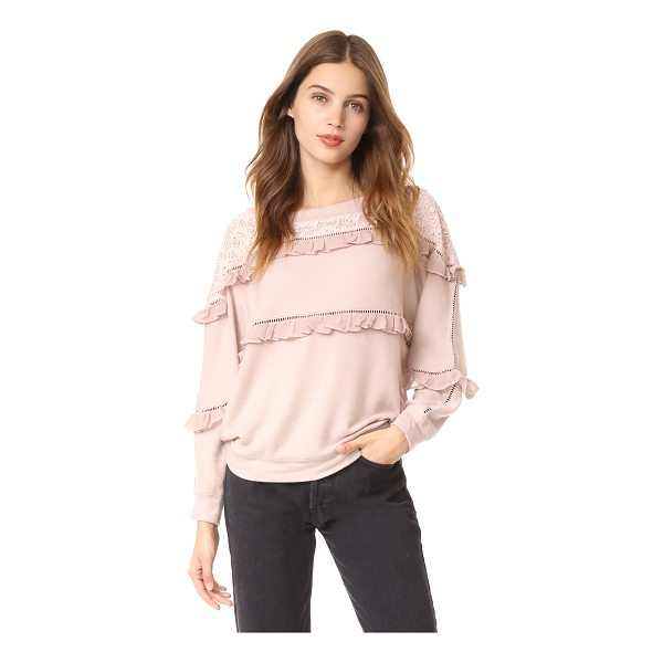 LOVE SAM off shoulder ruffled pullover - This slouchy Love Sam pullover sweater is trimmed with...