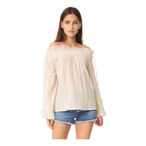 LOVE SAM smocked blouse - Thin stripes embellish this bohemian Love Sam off-shoulder...