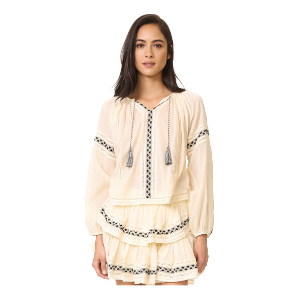 LOVESHACKFANCY lou peasant blouse - Loose raglan sleeves with slim cuffs accentuate the...