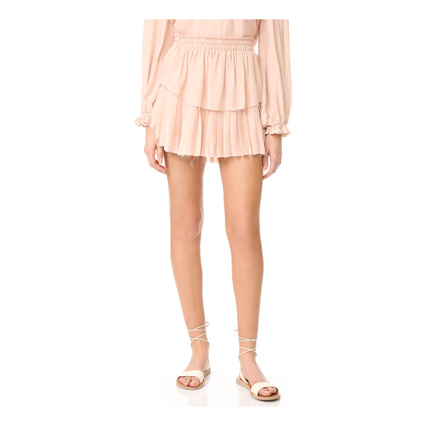 LOVESHACKFANCY ruffle miniskirt - Smooth and pleated panels form this delicate silk-chiffon...